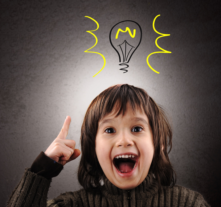 excited kid lightbulb over head